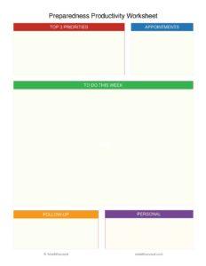 Mind4Survival Preparedness Productivity Worksheet