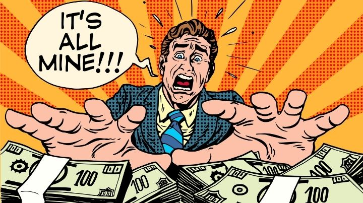 This is a cartoon image representing corporate greed and the need for financial preparedness