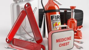 Emergency essentials car kits include things like food, water, and first aid items.