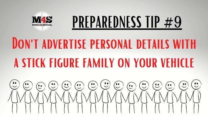 Don't advertise personal details with a stick figure family on your vehicle