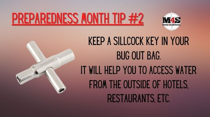 Keep a sillcock key in your bug out bag for accessing outdoor water sources