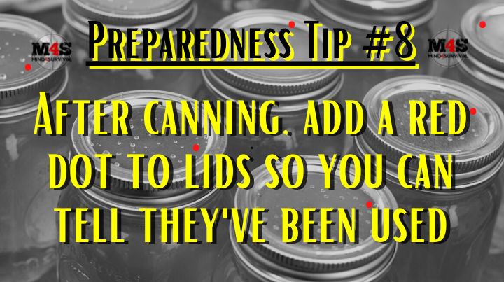 Put bright dots on used canning lids